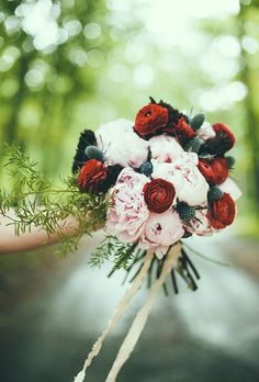 Brides: Lush Bouquet of Peonies and Ranunculus. A winter wedding bouquet made of pink peonies, red ranuculus, and greenery, created by Karma Flowers. Ranunculus Wedding Bouquet, Thistle Bouquet, Silk Wedding Bouquets, Wedding Flower Photos, Floral Wedding, Wedding Flowers, Wedding Ideas, Fake Flowers, Beautiful Flowers