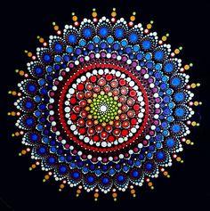 BarbaraMandalaTFS#58  MandalaLove#40x40cm#The white part glow in the dark#acrylic#special gift by BarbaraMandalaTFS on Etsy