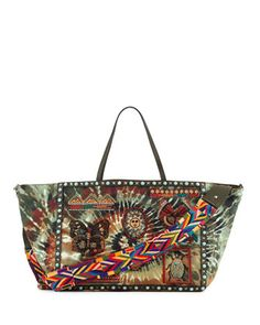 Rockstud+Rolling+Large+Beaded+Tie-Dye+Tote+Bag,+Multi/Deep+Army+by+Valentino+at+Neiman+Marcus.
