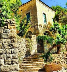 A beautiful place at Dhour Chweir By (at Dhour Chwer) Beautiful World, Beautiful Places, Castle House, Old Buildings, Old Houses, Life Is Good, Around The Worlds, Stairs, House Styles