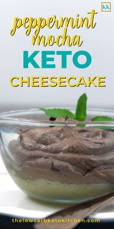 KETO NO-BAKE CHEESECAKE: One of the things I love the most about Keto is not feeling deprived. This Peppermint Mocha No-Bake Cheesecake is so amazing, you'd never believe it's a diet dessert! Ketogenic Desserts, Keto Friendly Desserts, Low Carb Desserts, Low Carb Recipes, Healthy Recipes, Keto Snacks, Healthy Food, Keto No Bake Cheesecake, Mocha Cheesecake