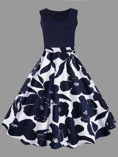 89469a9dd991a [17% OFF] 2019 Plus Size Floral Printed Midi Vintage Flare Dress In  PURPLISH BLUE | DressLily