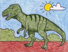 Draw a T-Rex Tyrannosaurus Rex is possibly the most well known dinosaur due to its huge size, ferocious nature and regular appearances in movies. Here's how to draw a T-Rex in all his curvy detail. Dinosaur Art Projects, Dinosaur Activities, Easy Art Projects, Art Activities, Projects For Kids, Drawing Lessons For Kids, Easy Drawings For Kids, Painting For Kids, Art For Kids