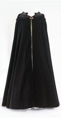 Black Wool Cloak with Hood <3