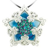 Blue Topaz DavinChi Cut pendant in white 14k gold with diamonds. Style 4572. Looks like a snowflake from here!