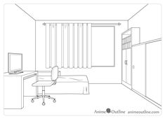 One point perspective room drawing tutorial - animeoutline One Perspective Drawing, One Point Perspective Room, Bedroom Drawing, Drawing Room Interior, Curtain Drawing, Drawing Tutorials For Beginners, Interior Design Sketches, Drawing People, Drawings