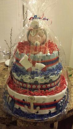 Nautical themed diaper cakes by me Mari Veloz :)