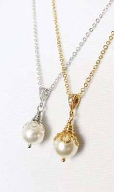 Simple Pearl Necklace with Swarovski Pearl Drop