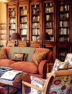 Elegant antique style bookshelves in drawing room