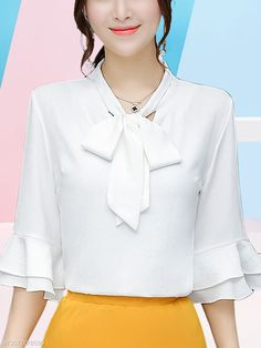 Buy Tie Collar Bowknot Plain Bell Sleeve Blouse online with cheap prices and discover fashion Blouses at Fashionmia.com. Blouse Styles, Blouse Designs, Formal Tops, Fashion Dresses, Fashion Blouses, Satin Blouses, Bell Sleeve Blouse, Blouse Online, Sleeve Designs