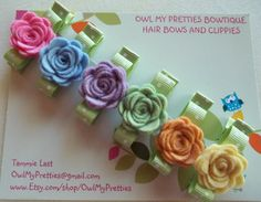Beautiful WOOL FELT FLOWERS Roses - Pastel Roses -Hair Clips Clippies -Set of 6-  Babies Toddlers Girls