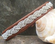 Sami Pewter and Leather Bracelet, Nougat Brown Reindeer Leather, Pewter Wire Braid, Swedish Lapland Bracelet