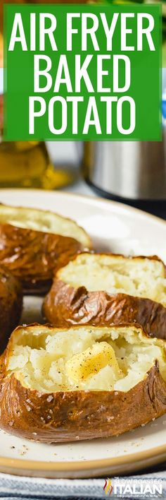 An air fryer baked potato has crispy skin without any oil and it's fluffy on the inside! Make this recipe in less time than oven baking! #AirFryerBakedPotato #BakedPotato #SideDish Air Fryer Oven Recipes, Air Fry Recipes, Air Fryer Dinner Recipes, Fun Easy Recipes, Real Food Recipes, Easy Meals, Cooking Recipes, Side Recipes, Keto Recipes