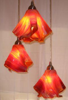 Fused Glass Pendant lighting - triple entry way light
