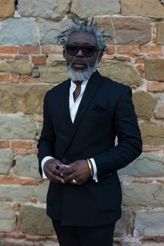 WGSN street shot, Pitti Uomo 83 by WGSNofficial, via Flickr ~ wow, love the salt & peppa locks.