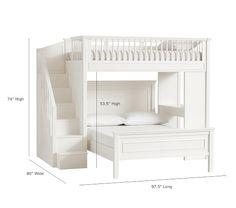 Fillmore Stair Loft Bed & Lower Bed Set -Caroline's room Bunk Bed Rooms, Full Bunk Beds, Bunk Beds With Stairs, Kids Bunk Beds, Loft Bunk Beds, Built In Bunkbeds, Bunk Beds Small Room, Queen Bunk Beds, Bed Rails