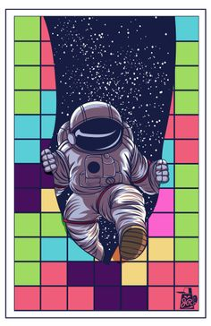 Tetris astronaut illustration