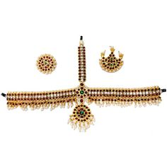Temple Jewelry Forehead Set with Kemp & pearls for Children. Temple jewellery dance sets USA