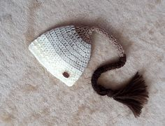 Newborn baby ombre neutral long tail hat elf hat by fridaysfactory