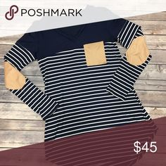 Navy Striped Top So cute! Has elbow patches and front breast pocket. True to size. No trades. No lowball offers. Tops