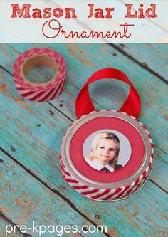 Mason Jar Lid Picture Ornament with Washi Tape. Easy Christmas Ornament for Kids to Make.