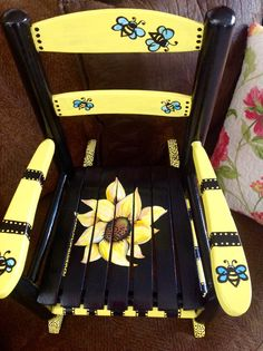 Hand painted children's rocker, one of my favorite Painted Chairs! Check out my Facebook Page.. Dixcie's Painted World.