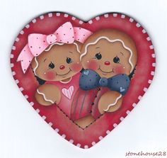 HP GINGERBREAD Couple in a Heart (Valentine's) FRIDGE MAGNET #Handpainted by Pamela House