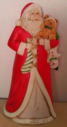 Santa Claus Ceramic Figurine Christmas Country Winter Clause 8in