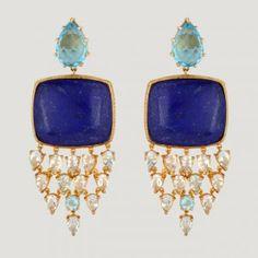 Multi Drop Silver Earrings With Lapis Lazuli (115 K), Blue Topaz (22.43 K) and White Topaz (24.15 K)