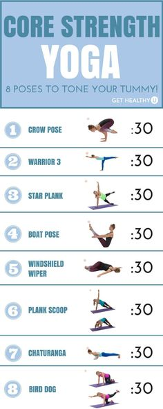 Yoga poses that emphasize core strength. Try them out one at a time, holding each for 30 seconds. Go through the entire sequence twice; for moves that are one-sided, do one side the first time through and the other side the second time through.