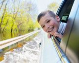 Happy smiling boy looks out the car window Santa Paintings, Royalty Free Stock Photos, Window, Children, Car, Illustration, Happy, Photography, Image