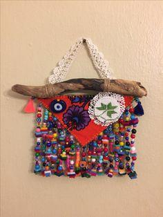 Nazarlık, pazen nazarlık, kanaviçe, kanaviçe nazarlık, gargalak, gargalaklı nazarlık, amulet, driftwood, cross stitch, hand made, design, ig: _esencan