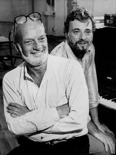 """Hal Prince in 1981 with Stephen Sondheim, right, at a rehearsal for """"Merrily We Roll Along."""" Credit United Press International. """""""