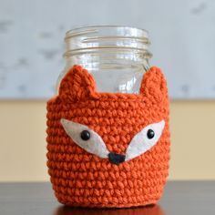 Crocheted Woodland Fox Mason Jar Cozy.. even use for beer or pop cans! How cute is that!