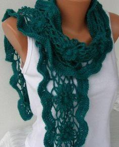 Crochet Scarf Flower Teal Scarf