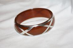 Butterscotch Lucite Bangle Bracelet Silver Overlay by patwatty, $65.00