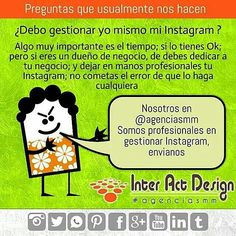 Debo gestionar yo mismo mi Instagram ? #agenciasmm #medellin #bogota #riodejaneiro #saopaulo #lima #quito #caracas #panama #costarica #guatemala #puertorico #cartagena #cali #barranquilla #mexico #latinoamerica #riodejaneiro
