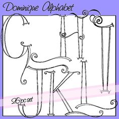 Dominique Alphabet Upper Case - Personal and Limited Commercial Use Calligraphy Letters Alphabet, Hand Lettering Alphabet, Doodle Lettering, Creative Lettering, Alphabet Fonts, Doodle Fonts, Typography, Drawing Letters, Alphabet Drawing