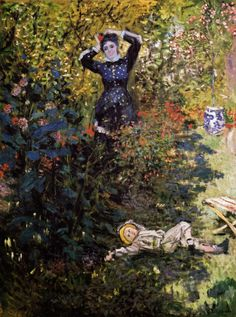 Camille and Jean Monet in the Garden at Argenteuil by Claude Monet in oil on canvas, done in Now in a private collection. Find a fine art print of this Claude Monet painting. Claude Monet, Pierre Auguste Renoir, Monet Paintings, Landscape Paintings, Artist Monet, Ouvrages D'art, Camille Pissarro, Edgar Degas, Manet