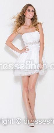 White Appliques Cocktail Dress