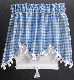 Blue Gingham Miniature Dollhouse 8 Pc Dish Towel Set