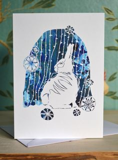 Snow Rabbit - Papercutting Greetings Card £3.00