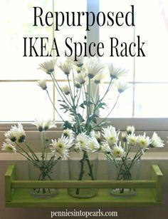Repurposed IKEA Spice Rack - penniesintopearls.com - Great idea on how to repurpose IKEA $4 spice rack. Perfect for the kitchen or any other room. Easy Crafts For Kids, Easy Diy Crafts, Diy Arts And Crafts, Diy Craft Projects, Home Crafts, Cute Home Decor, Home Decor Items, Green Spray Paint, Ikea Spice Rack