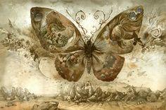 butterfly art Yuri, Art Et Illustration, Illustrations, Butterfly Illustration, Art Papillon, Surreal Artwork, Chaos Theory, Butterfly Effect, Red Butterfly