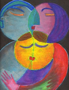THE FAMILY - OOAK 17 x 13ins (43 x 32cms) Warm oil pastels depicting  the warm family unit. via Etsy