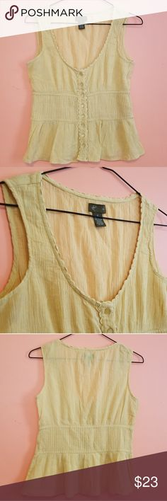 "🎉🎉🎉 HOST PICK🎉🎉🎉  Fei Anthropologie Boho Top I loooove this top & wish it was my size.  Sadly it's not but that works out for you! ♥️ Fei Anthropologie women's 6 100% cotton. This bohmemian style top is EVERYTHING for spring. Beautiful shade if rustic yellow. It's perfect. 15"" armpit flat 21"" length Anthropologie Tops"