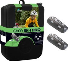 399.95 EUR Incl. VAT The cardo BK-1 DUO includes TWO factory-paired BK-1 units. The cardo BK-1 allows simultaneous intercom communication between 3 cyclists at distances of up to 500 m / 1 640 feet *. Each cyclist can also talk to 2 additional cyclists using the intercom toggling feature. For added safety and convenience, cardo BK-1 offers intuitive voice controlled operation. It also connects to any Bluetooth enabled mobile phone, GPS and MP3 player.