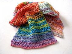 A pleasant mixture of garter and lace, this scarf is worked in a randomly ordered sequence chosen by you, which means that no two scarves will (likely) turn out exactly the same. The randomness of the structure blends beautifully with the ever-changing shades of varigation, providing a little more visual interest than solid garter or lace. It's simple and easy to memorize, but always changing so never boring!