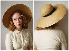 vintage 1950s Neiman Marcus straw hat  50s by KodachromeNostalgia, $42.00