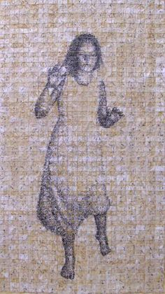 Paul Roorda. Jairus' Daughter    Poppy seeds, paper, thread, beeswax, on board.     48 x 72 inches   2003